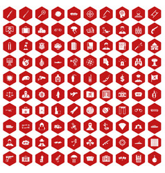 100 antiterrorism icons hexagon red vector