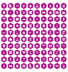 100 garden icons hexagon violet vector