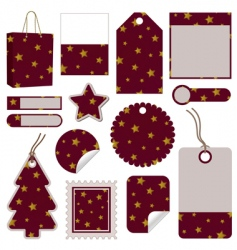 red and gold christmas tags vector image