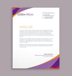 Stylish purple wave letterhead design vector