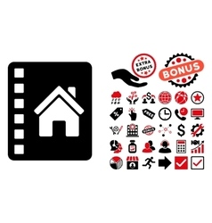Realty catalog flat icon with bonus vector