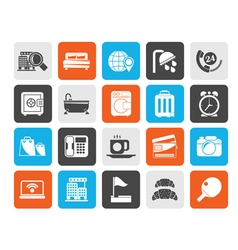 Silhouette hotel and motel services icons 1 vector