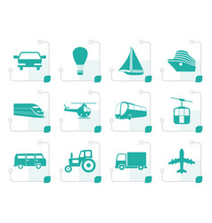 Stylized transportation and travel icons vector