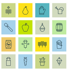 set of 16 holticulture icons includes lantern vector image