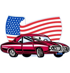 American pontiac muscle car with flag vector