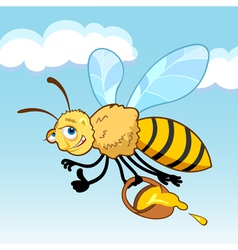 Honey bee cartoon in fly vector image