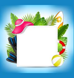 Tropical summer design card template with beach vector