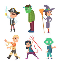 cute and scary halloween cartoon costume for kids vector image