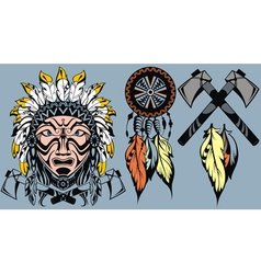 Brave american indian warrior head for mascot and vector