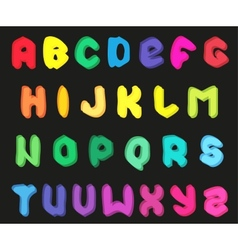 Creative multicolor alphabet set on black vector