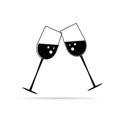 Two glass of wine black vector