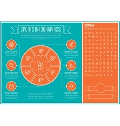 Sports line design infographic template vector
