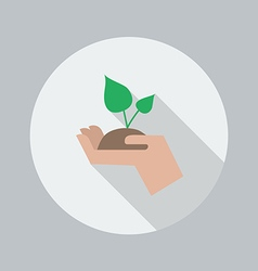 Eco flat icon hand holding plant vector