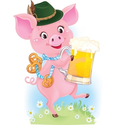 Happy smiling piglet with beer vector