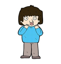 Comic cartoon worried boy vector