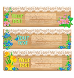 Wooden horizontal spring banners vector image