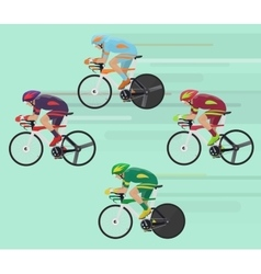 Cyclists man on road race bicycle racing concept vector