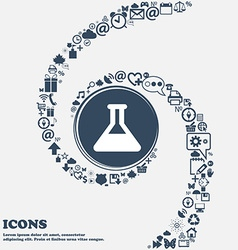 Conical flask icon sign in the center around the vector