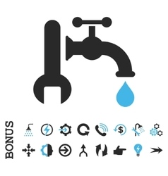 Plumbing flat icon with bonus vector