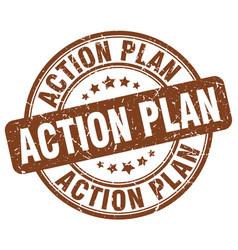 action plan brown grunge stamp vector image