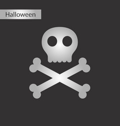 black and white style icon halloween skull bones vector image