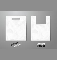 Blank white realistic plastic bag vector image