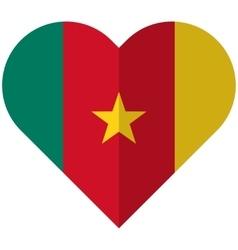 Cameroon flat heart flag vector image vector image