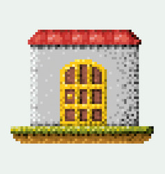 Color pixelated house in meadow vector
