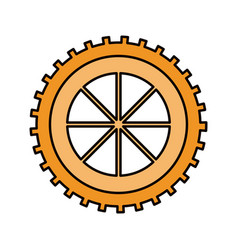 Color sketch silhouette gear wheel component icon vector