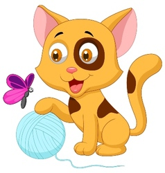 Cute cat cartoon playing with ball of yarn and but vector