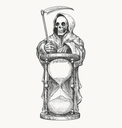 death with scythe and hourglass vector image vector image