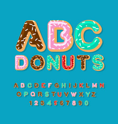 Donuts abc pie alphabet baked in oil letters vector