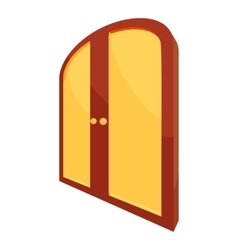 Double yellow door icon cartoon style vector