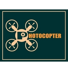 Drone quadrocopter icon photocopter text vector