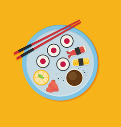 eating sushi flat design vector image vector image