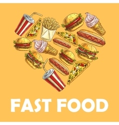 Fast food meal in heart shape vector