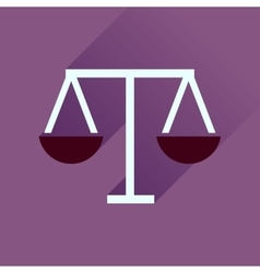 Flat icon with long shadow justice scales vector