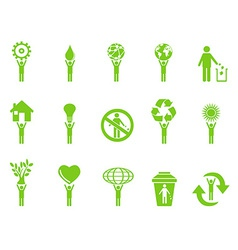 Green eco icons stick figures series vector
