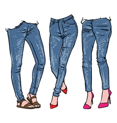 Hand drawn womens fashionable denim jeans vector