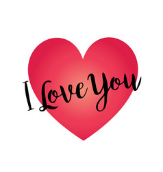 hand written i love you on red gradient heart vector image