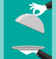 hands of waiter holding empty silver cloche vector image