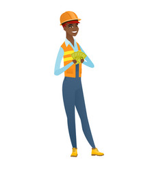 Happy african-american builder holding money vector
