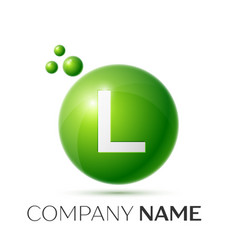 L letter splash green dots and bubbles number vector