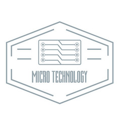 modern micro technology logo simple gray style vector image vector image