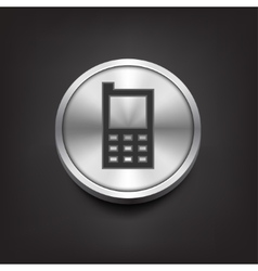 Phone icon on silver button vector image vector image