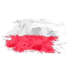 Poland flag painted by brush hand paints Art flag vector image