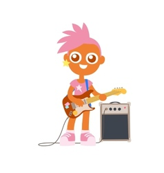Punk rock girl with guitar and pink color vector