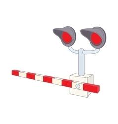 Railroad crossing icon cartoon style vector