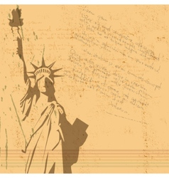 retro statue of liberty background vector image
