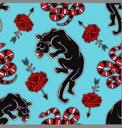 Seamless pattern with wild snake black panther vector